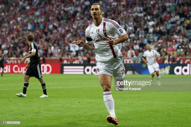 Zlatan Ibrahimovic of AC Milan celebrates the first goalduring the Audi Cup match between FC Bayern Muenchen and AC Milan at Allianz Arena on July 26...