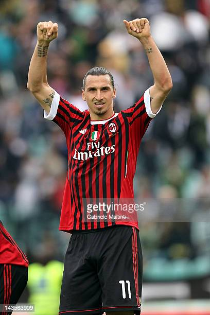 Zlatan Ibrahimovic of AC Milan celebrates victory at the end of the Serie A match between AC Siena and AC Milan at Artemio Franchi Mps Arena Stadium...