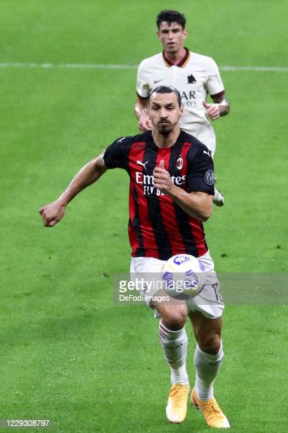 Zlatan Ibrahimovic of AC Milan controls the ball during the Serie A match between AC Milan and AS Roma at Stadio Giuseppe Meazza on October 26 2020...