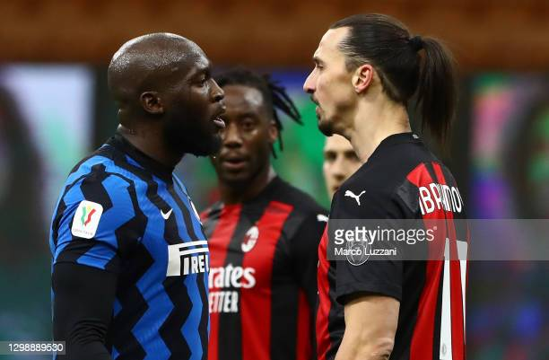Zlatan Ibrahimovic of AC Milan disputes with Romelu Lukaku of FC Internazionale during the Coppa Italia match between FC Internazionale and AC Milan...
