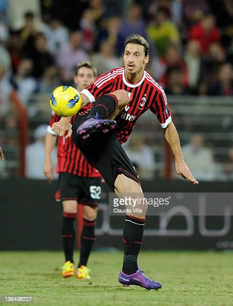 Zlatan Ibrahimovic of AC Milan during the Dubai Challenge Cup match between Paris SaintGermain FC and AC Milan at AlRashid Stadium on January 4 2012...