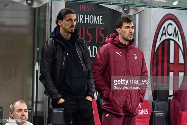 Zlatan Ibrahimovic of AC Milan during the Italian Serie A match between AC Milan v Cagliari Calcio on May 16, 2021