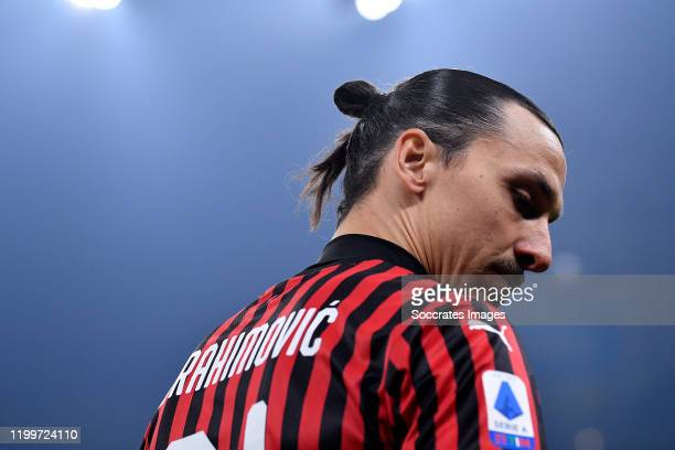 Zlatan Ibrahimovic of AC Milan during the Italian Serie A match between Internazionale v AC Milan at the San Siro on February 9 2020 in Milan Italy