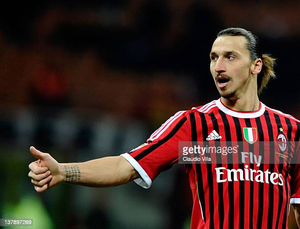Zlatan Ibrahimovic of AC Milan during the Serie A match between AC Milan and Cagliari Calcio at Stadio Giuseppe Meazza on January 29 2012 in Milan...
