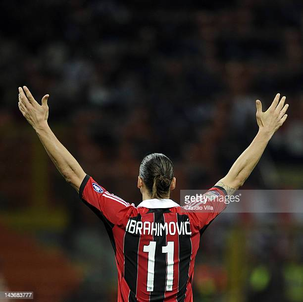 Zlatan Ibrahimovic of AC Milan during the Serie A match between AC Milan and Atalanta BC at Stadio Giuseppe Meazza on May 2, 2012 in Milan, Italy.