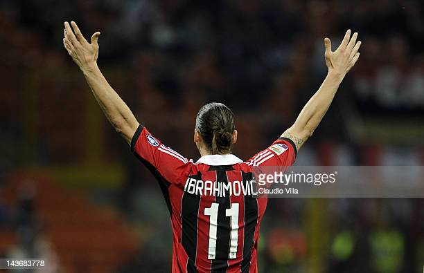 Zlatan Ibrahimovic of AC Milan during the Serie A match between AC Milan and Atalanta BC at Stadio Giuseppe Meazza on May 2 2012 in Milan Italy
