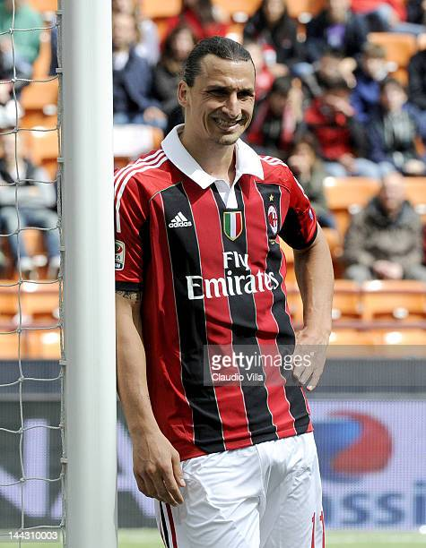 Zlatan Ibrahimovic of AC Milan during the Serie A match between AC Milan and Novara Calcio at Stadio Giuseppe Meazza on May 13 2012 in Milan Italy