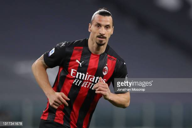 Zlatan Ibrahimovic of AC Milan during the Serie A match between Juventus and AC Milan at Allianz Stadium on May 09, 2021 in Turin, Italy. Sporting...