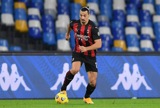 Zlatan Ibrahimovic of AC Milan during the Serie A match between SSC Napoli and AC Milan at Stadio San Paolo on November 22, 2020 in Naples, Italy.