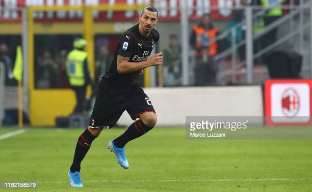 Zlatan Ibrahimovic of AC Milan enters the field during the Serie A match between AC Milan and UC Sampdoria at Stadio Giuseppe Meazza on January 6...