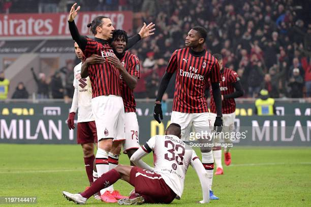 Zlatan Ibrahimovic of AC Milan, Franck Kessie of AC Milan, Rafael Leao of AC Milan celebrate 4-2 during the Italian Coppa Italia match between AC...