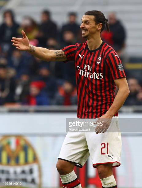 Zlatan Ibrahimovic of AC Milan gestures during the Serie A match between AC Milan and Udinese Calcio at Stadio Giuseppe Meazza on January 19 2020 in...