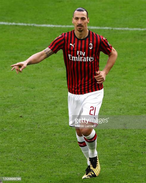 Zlatan Ibrahimovic of AC Milan gestures during the Serie A match between AC Milan and Genoa CFC at Stadio Giuseppe Meazza on March 8, 2020 in Milan,...