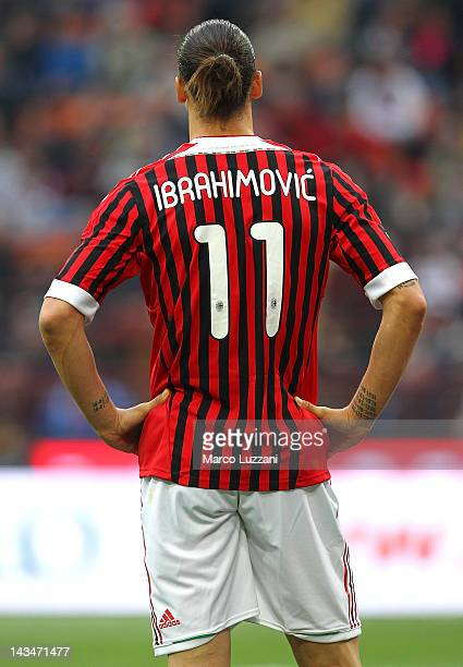 Zlatan Ibrahimovic of AC Milan gestures during the Serie A match between AC Milan and Genoa CFC at Stadio Giuseppe Meazza on April 25 2012 in Milan...