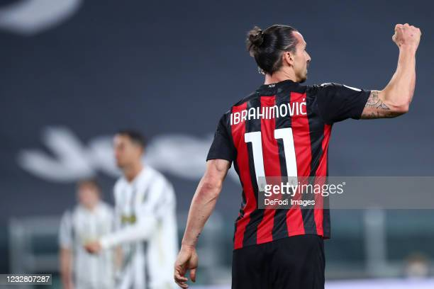 Zlatan Ibrahimovic of AC Milan gestures during the Serie A match between Juventus and AC Milan at on May 9, 2021 in Turin, Italy. Sporting stadiums...
