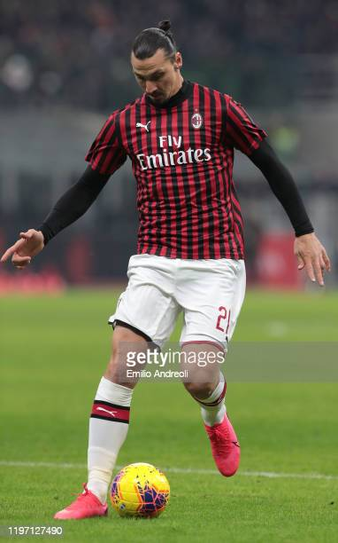Zlatan Ibrahimovic of AC Milan in action during the Coppa Italia Quarter Final match between AC Milan and Torino at San Siro on January 28 2020 in...