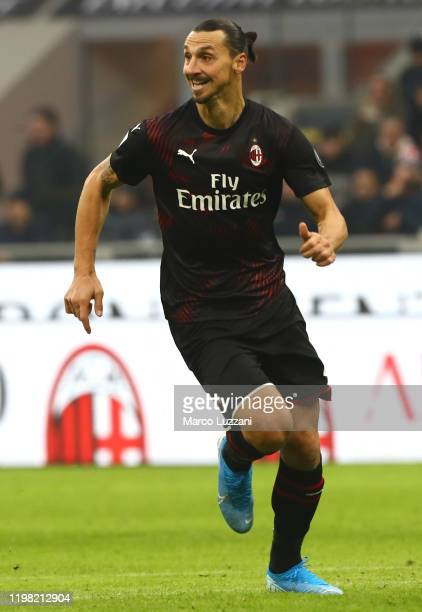 Zlatan Ibrahimovic of AC Milan in action during the Serie A match between AC Milan and UC Sampdoria at Stadio Giuseppe Meazza on January 6 2020 in...