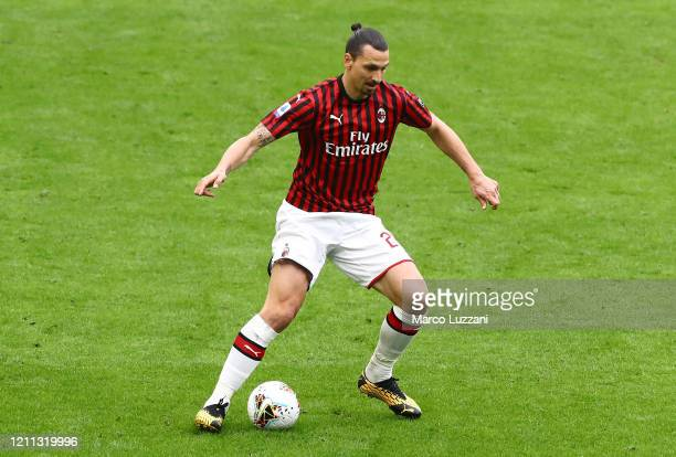 Zlatan Ibrahimovic of AC Milan in action during the Serie A match between AC Milan and Genoa CFC at Stadio Giuseppe Meazza on March 8, 2020 in Milan,...