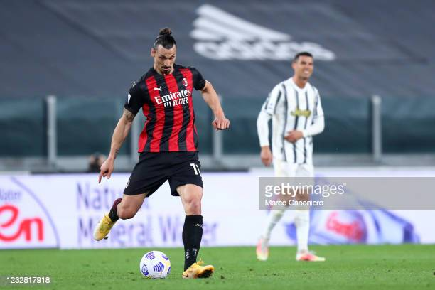 Zlatan Ibrahimovic of Ac Milan in action during the Serie A match between Juventus Fc and Ac Milan. Ac Milan wins 3-0 over Juventus Fc.