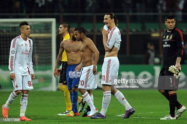 Zlatan Ibrahimovic of AC Milan looks dejected at the end of the UEFA Champions League quarter final first leg match between AC Milan and FC Barcelona...