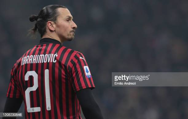 Zlatan Ibrahimovic of AC Milan looks dejected during the Serie A match between FC Internazionale and AC Milan at Stadio Giuseppe Meazza on February...