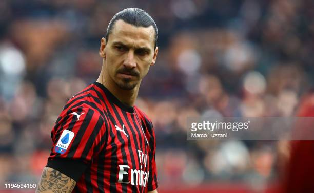 Zlatan Ibrahimovic of AC Milan looks on during the Serie A match between AC Milan and Udinese Calcio at Stadio Giuseppe Meazza on January 19, 2020 in...