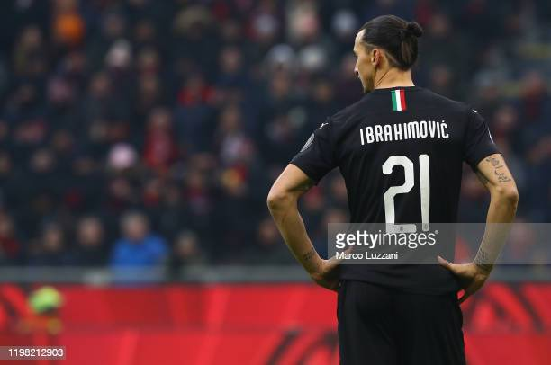 Zlatan Ibrahimovic of AC Milan looks on during the Serie A match between AC Milan and UC Sampdoria at Stadio Giuseppe Meazza on January 6 2020 in...