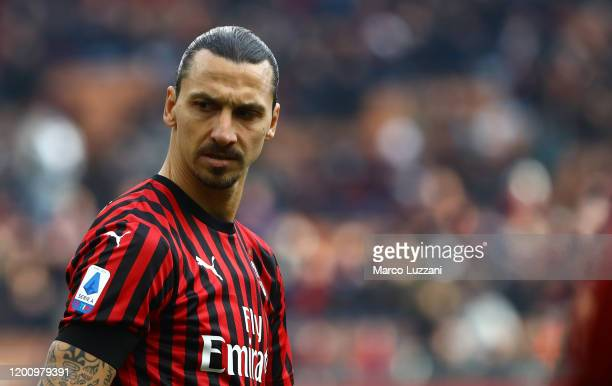 Zlatan Ibrahimovic of AC Milan looks on during the Serie A match between AC Milan and Udinese Calcio at Stadio Giuseppe Meazza on January 19 2020 in...