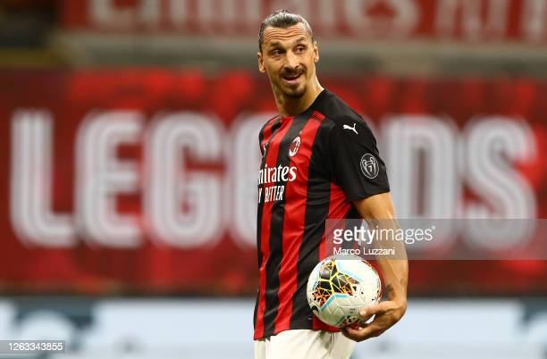 Zlatan Ibrahimovic of AC Milan looks on during the Serie A match between AC Milan and Cagliari Calcio at Stadio Giuseppe Meazza on August 01, 2020 in...