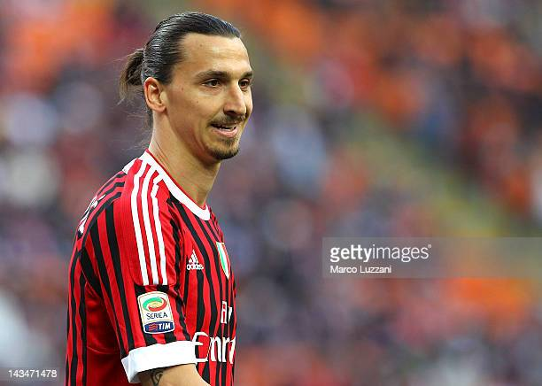 Zlatan Ibrahimovic of AC Milan looks on during the Serie A match between AC Milan and Genoa CFC at Stadio Giuseppe Meazza on April 25, 2012 in Milan,...