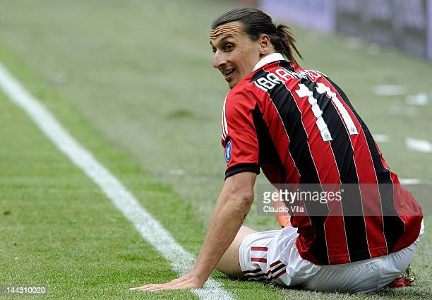 Zlatan Ibrahimovic of AC Milan looks on during the Serie A match between AC Milan and Novara Calcio at Stadio Giuseppe Meazza on May 13, 2012 in...
