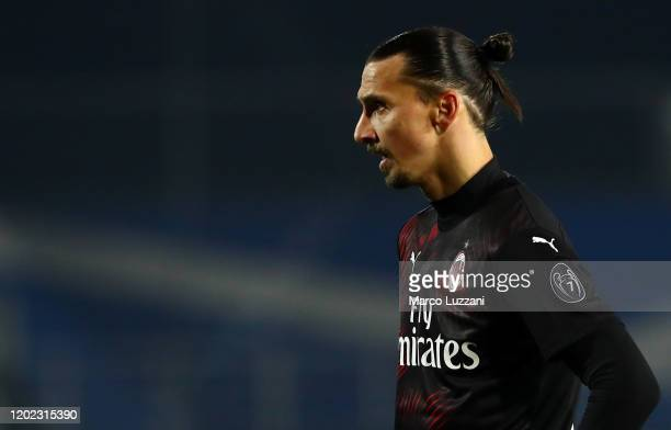 Zlatan Ibrahimovic of AC Milan looks on during the Serie A match between Brescia Calcio and AC Milan at Stadio Mario Rigamonti on January 24, 2020 in...