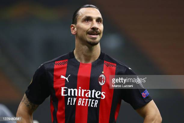 Zlatan Ibrahimovic of AC Milan looks on during the UEFA Europa League Group H stage match between AC Milan and LOSC Lille at San Siro Stadium on...
