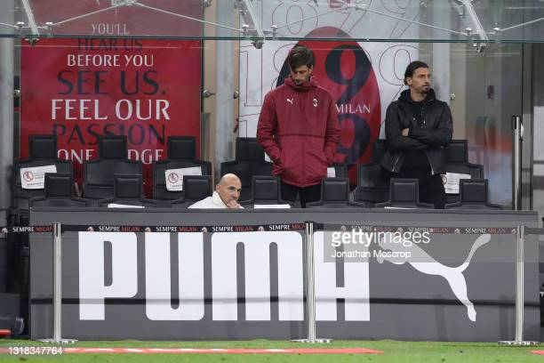 Zlatan Ibrahimovic of AC Milan looks on from the dugout as he is sidelined through injury during the Serie A match between AC Milan and Cagliari...