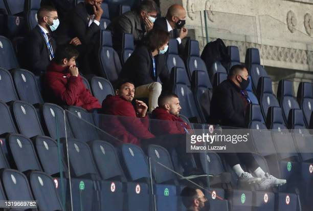 Zlatan Ibrahimovic of A.C. Milan looks on from the stand during the Serie A match between Atalanta BC and AC Milan at Gewiss Stadium on May 23, 2021...