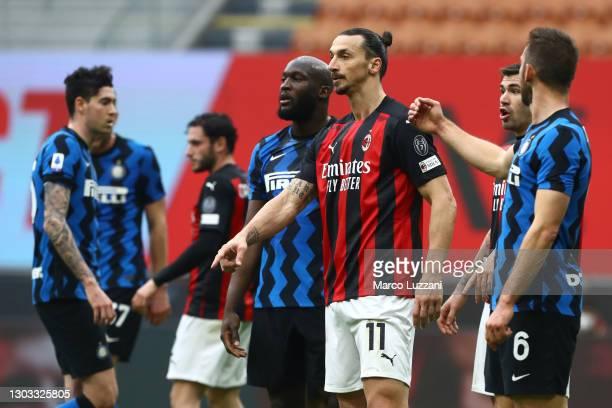 Zlatan Ibrahimovic of AC Milan looks on with Romelu Lukaku of Internazionale during the Serie A match between AC Milan and FC Internazionale at...