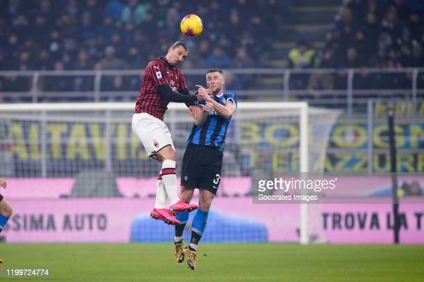 Zlatan Ibrahimovic of AC Milan Milan Skriniar of FC Internazionale Milano during the Italian Serie A match between Internazionale v AC Milan at the...
