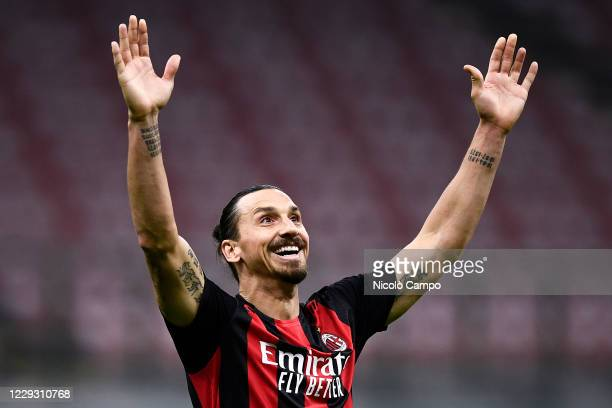 Zlatan Ibrahimovic of AC Milan reacts during the Serie A football match between AC Milan and AS Roma The match ended 33 tie
