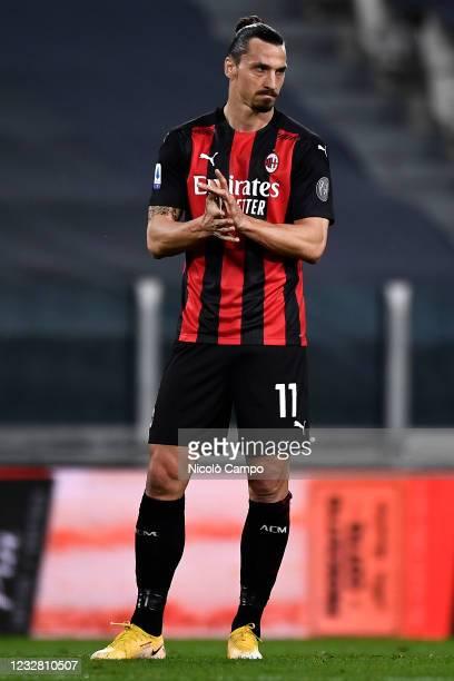 Zlatan Ibrahimovic of AC Milan reacts during the Serie A football match between Juventus FC and AC Milan. AC Milan won 3-0 over Juventus FC.