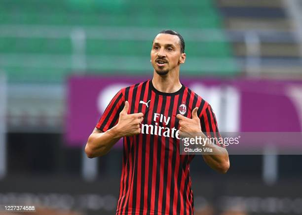 Zlatan Ibrahimovic of AC Milan reacts during the Serie A match between AC Milan and Parma Calcio at Stadio Giuseppe Meazza on July 15, 2020 in Milan,...
