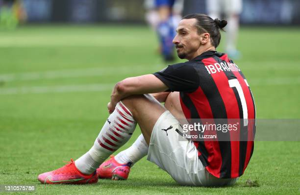 Zlatan Ibrahimovic of A.C. Milan reacts during the Serie A match between AC Milan and UC Sampdoria at Stadio Giuseppe Meazza on April 03, 2021 in...