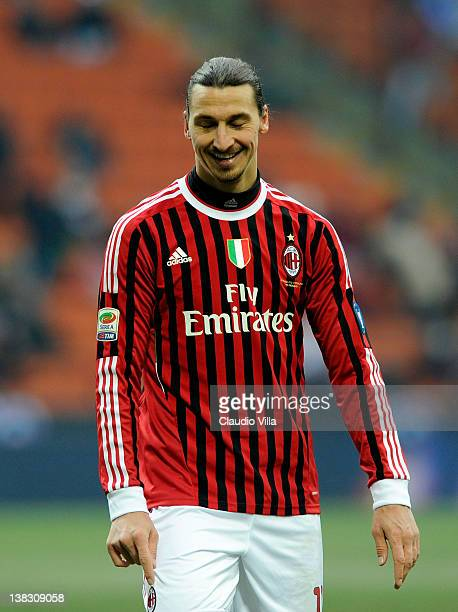 Zlatan Ibrahimovic of AC Milan reacts during the Serie A match between AC Milan and SSC Napoli at Stadio Giuseppe Meazza on February 5 2012 in Milan...