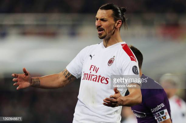 Zlatan Ibrahimovic of AC Milan reacts during the Serie A match between ACF Fiorentina and AC Milan at Stadio Artemio Franchi on February 22 2020 in...