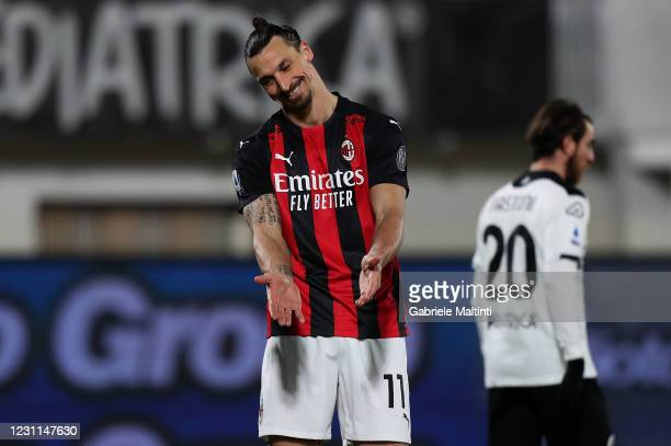 Zlatan Ibrahimovic of AC Milan reacts during the Serie A match between Spezia Calcio and AC Milan at Stadio Alberto Picco on February 13, 2021 in La...