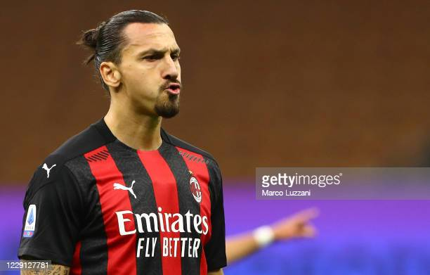 Zlatan Ibrahimovic of AC Milan reacts during the Serie A match between FC Internazionale and AC Milan at Stadio Giuseppe Meazza on October 17, 2020...