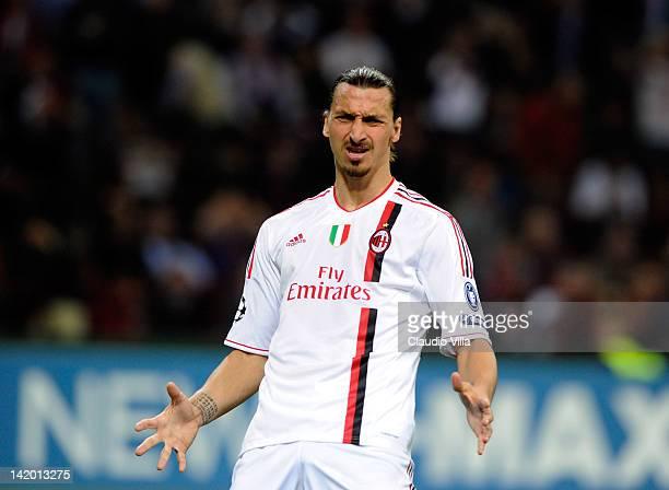 Zlatan Ibrahimovic of AC Milan reacts during the UEFA Champions League quarter final first leg match between AC Milan and Barcelona at Stadio...