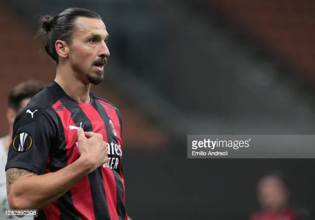 Zlatan Ibrahimovic of AC Milan reacts during the UEFA Europa League Group H stage match between AC Milan and AC Sparta Praha at San Siro Stadium on...