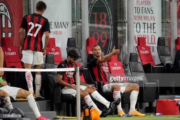Zlatan Ibrahimovic of AC Milan reacts with Daniel Maldini of AC Milan during the pre-season friendly match between AC Milan and AC Monza at Stadio...