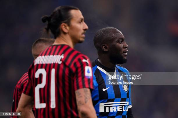 Zlatan Ibrahimovic of AC Milan Romelu Lukaku of FC Internazionale Milano during the Italian Serie A match between Internazionale v AC Milan at the...
