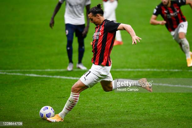 Zlatan Ibrahimovic of AC Milan scores a goal from a penalty kick during the Serie A football match between AC Milan and Bologna FC. AC Milan won 2-0...